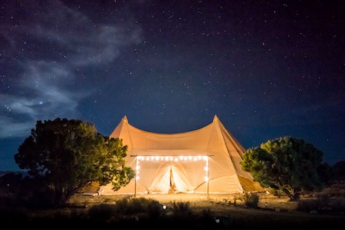 tent at night with lights
